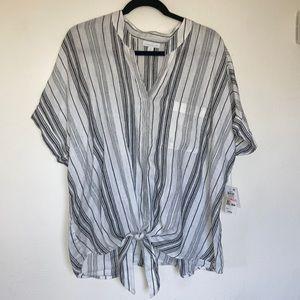 Charter club 100% Linen tied shirt white striped
